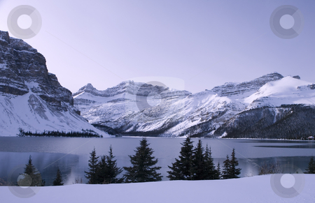 Frozen Lake in Jasper Park Alberta stock photo, Lake freezing over in cold weather by Sharron Schiefelbein