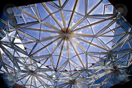 230 Skylight stock photo, Skylight with brilliant blue sky behind by Sharron Schiefelbein