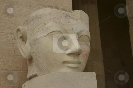 Carving of Queen Hatshepsut stock photo, Head carving of the Queen of Hatshepsut by Sharron Schiefelbein