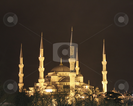 Blue Mosque at night in Istanbul Turkey stock photo, Golden lights of the Blue Mosque against the black sky by Sharron Schiefelbein