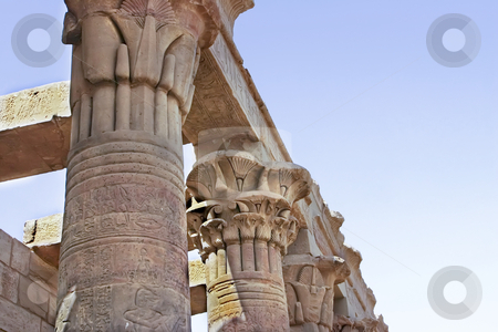188 Pillars of stone stock photo, Caved pillars in the Temple of Phillia by Sharron Schiefelbein