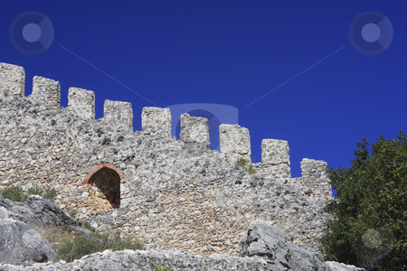 310 Alanya Castle stock photo, A double line of defensive walls munt the promontory to enclose the Citadel (Kale) inside which is a Byzantine Church. by Sharron Schiefelbein