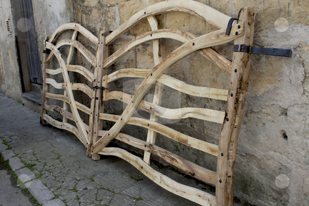 347 Gate made of olive wood stock photo, This unique gate is homemade from olive wood by Sharron Schiefelbein