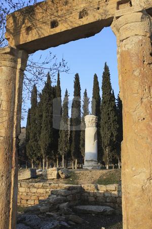 Roman Ruins of Hierapolis  stock photo, The Roman ruins of Hierapolis  are found at Pamukkale Turkey by Sharron Schiefelbein