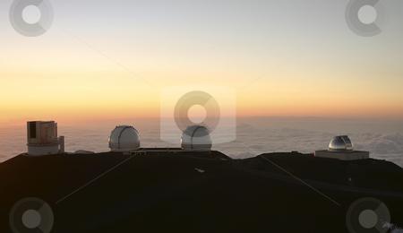 Observatories on Mauna Kea Hawaii stock photo, A beautiful sunset on top of Mauna Kea looking at the Observatories on the Big Island of Hawaii by Sharron Schiefelbein