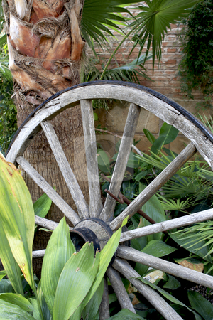 307 Wheel in the garden stock photo, An old wagon wheel found in a garden in Mallorca Spain by Sharron Schiefelbein
