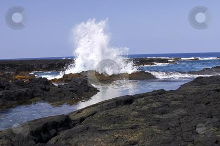 Hawaii Big Island stock photo, Waves crashing the beach at sunset on the Big Island of Hawaii by Sharron Schiefelbein