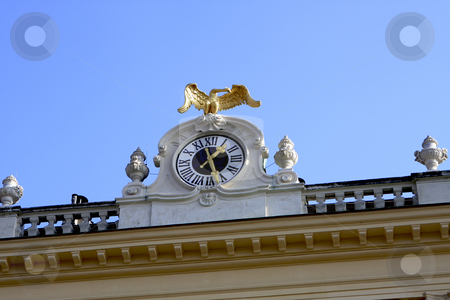 Clock in Schonbrunn Vienna stock photo, The clock on top of the Schonbrunn Palace by Sharron Schiefelbein