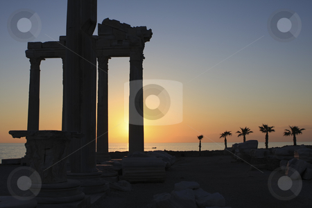Temple of Apollo in Side Turkey stock photo, Sunset in the ruins of the Aollo temple in Side Turkey by Sharron Schiefelbein