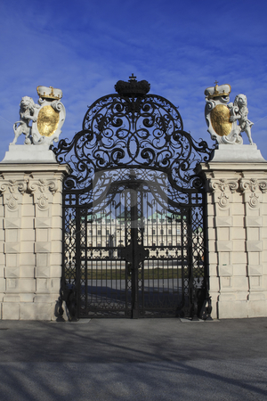 355 Gate at Belvedere Palace in Vienna Austria stock photo, Prince Eugen of Savoy commisioned this palace with his reward for his victories uring the Spanish Succession. by Sharron Schiefelbein