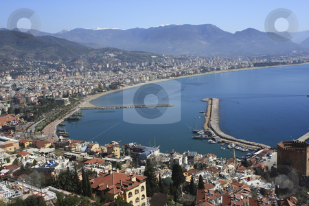 High view of Alanya bay stock photo, Over look of Alanya bay and city by Sharron Schiefelbein