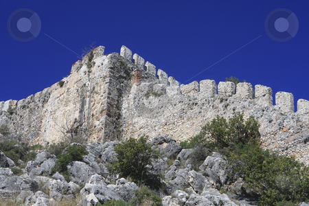 Alanya Castle stock photo, A double line of defensive walls munt the promontory to enclose the Citadel (Kale) inside which is a Byzantine Church. by Sharron Schiefelbein