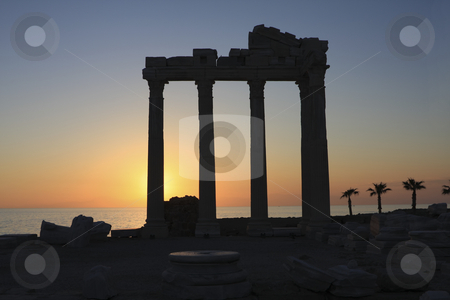 364 Sunset in Turkey stock photo, Sunset in the ruins of the Aollo temple in Side Turkey by Sharron Schiefelbein