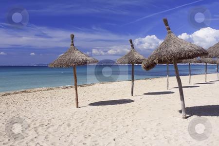 343 Beach in Mallorca Spain stock photo, Sun umbrellas on the beach in Mallorca Spain by Sharron Schiefelbein