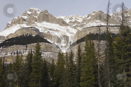 Rocky Mountains in Jasper National Park stock photo, Rugged mountains with a touch of snow by Sharron Schiefelbein