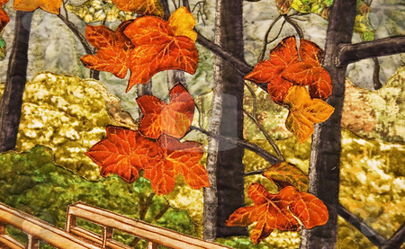 Abract Autumn Leaves on Quilt stock photo, This abstract features gorgeous autumn leaves scenic quilted on fabric for an unusual fall foliage shot. by Valerie Garner