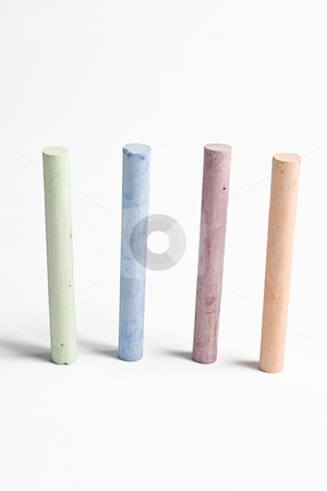Stix-o-chalk stock photo, Four stix of chalk standing up by Yann Poirier