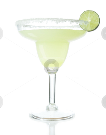 Margarita stock photo, Stock image of Tequila Margarita mixed drink isolated on white with reflection on bottom by iodrakon