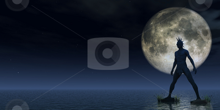 Giant stock photo, Stone punk monument at the ocean in the night - 3d illustration by J?