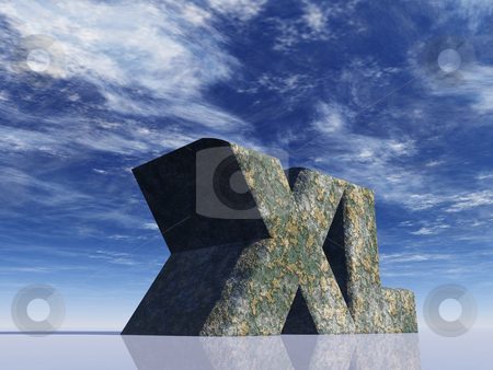 Xl stock photo, The letters XL rock in front of blue sky - 3d illustration by J?