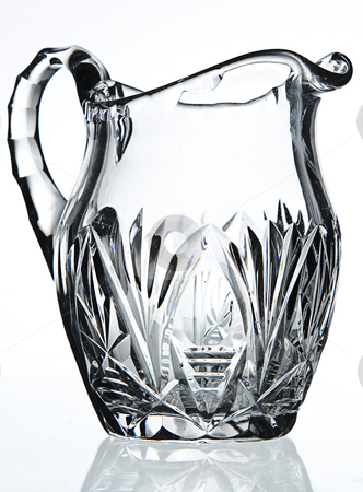 Crystal saucier stock photo, Close up shot of a crystal saucier isolated on a white backgroud with reflection by Yann Poirier