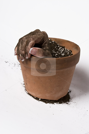 Holding the rim stock photo, Women hand hold the rim of a pot of earth by Yann Poirier