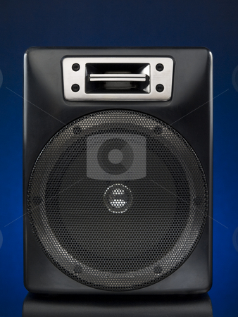 Black speaker stock photo, A black speaker over a blue background. by Ignacio Gonzalez Prado