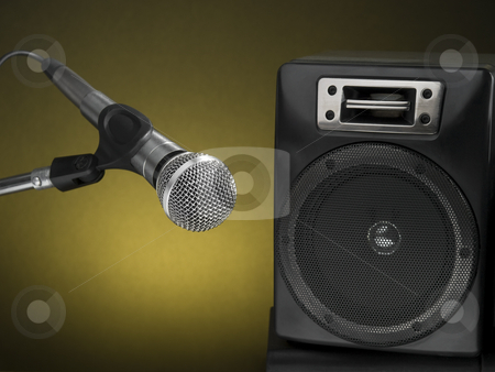 Let?s rock! stock photo, Professional microphone and speaker with a defused yellow background. by Ignacio Gonzalez Prado