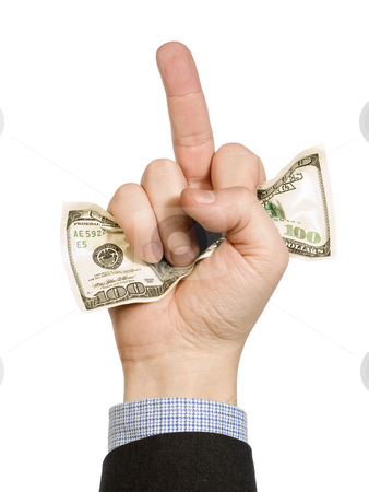 Financial strategy stock photo, A man's hand hold a hundred dollar bill and show his middle finger at the same time. by Ignacio Gonzalez Prado