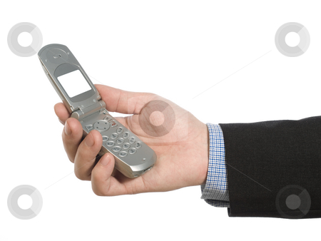Holding a cell phone stock photo, A man's hand holding a cell phone over white background. by Ignacio Gonzalez Prado