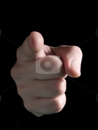 Pointing at you! stock photo, Hand pointing at observer isolated on black. by Ignacio Gonzalez Prado