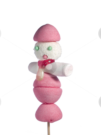 Candy people stock photo, A male figurin made out of candies on a stik over a white background. by Ignacio Gonzalez Prado