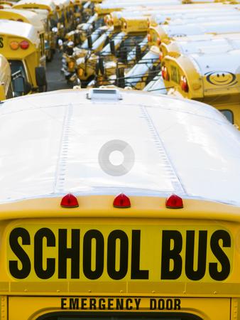 School bus parking stock photo, A lot of school buses in a parking. by Ignacio Gonzalez Prado