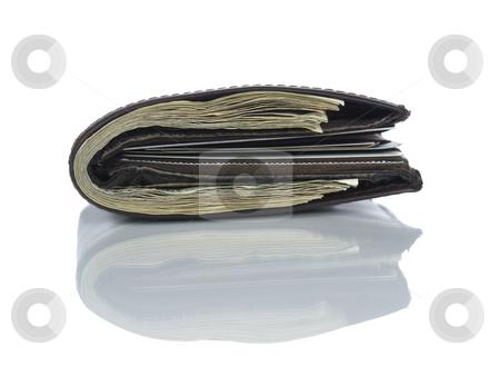 Wallet full of dollars stock photo, A leather wallet full of dollars isolated on white. by Ignacio Gonzalez Prado