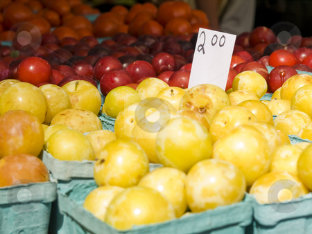 Market groceries stock photo, Yellow and red plumes in blue boxes. by Ignacio Gonzalez Prado