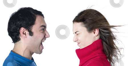 A big scream stock photo, A man screaming at her girlfriend on white background. by Ignacio Gonzalez Prado