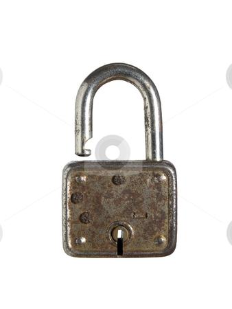 Rusty lock stock photo, An old and rusty lock opened against a white background. by Ignacio Gonzalez Prado