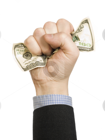 Wrinkled, crinkled dollar bill stock photo, A man?s fist wrapping a one hundred dollar bill with his hand. by Ignacio Gonzalez Prado