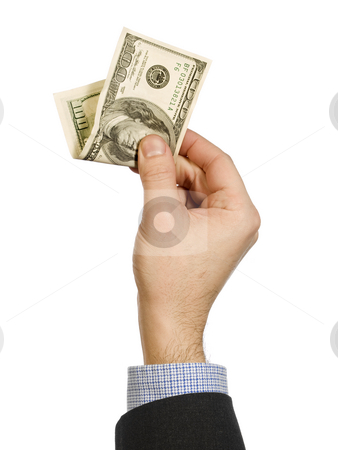 Show me the money stock photo, A man's hand holding a one hundred dollar bill. by Ignacio Gonzalez Prado