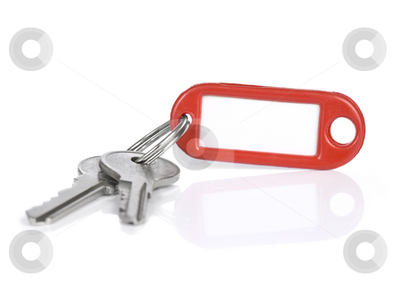 Red keyring stock photo, Two keys on a blank keyring with space for text, isolated on white. by Ignacio Gonzalez Prado