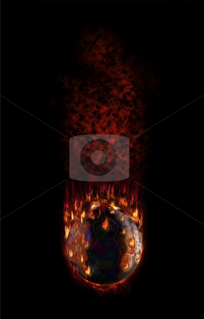 Football falling with fume and flames stock photo, Burning football falling fast as hell by Reinhart Eo