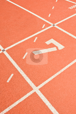 Lane 7 stock photo, Lane seven on a running track at the starting line of the sprint by Corepics VOF