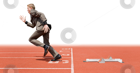 Business start stock photo, Businessman leaving the starting blocks - a metaphor of starting a new business, off on a good start by Corepics VOF