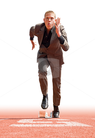 Business start stock photo, Businessman leaving the starting blocks - a metaphor of starting a new business by Corepics VOF