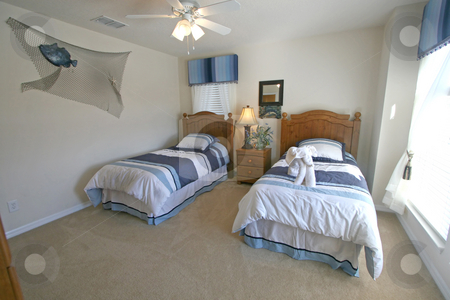 Twin Bedroom stock photo, A Twin Bedroom in a House in Florida. by Lucy Clark