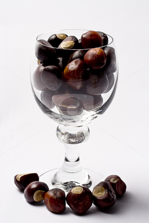 Glass of nut stock photo, Glass of wine filled to the rim with chestnut by Yann Poirier