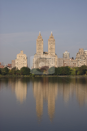 Central park view stock photo, View from the central park Jacqueline Kennedy Onassis Reservoir during the fall by Yann Poirier