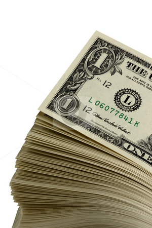 Stack of singles stock photo, Stack of dollar bills shot on white background by James Barber