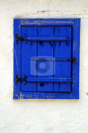 Blue Shutters stock photo, Romania, Bucharest, The Village Museum, A Shuttered Window on a village house by David Ryan