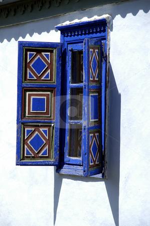 Shuttered Window stock photo, Romania, Bucharest, The Village Museum, A Shuttered Window on a village house by David Ryan